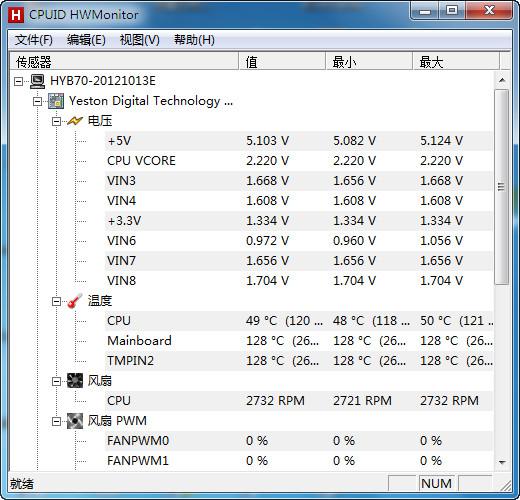 HWMonitor (可实时监测CPU的电压、温度、风扇转速等)V1.27 绿色中文版_52z.com