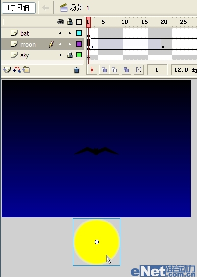 Flash教你如何制作蝙蝠在月夜里飞翔_52z.com