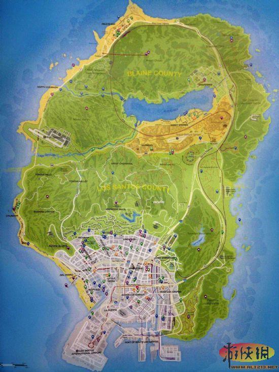 侠盗猎车手5全景地图一览_52z.com
