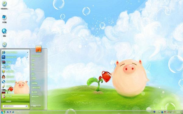 卡通小猪电脑桌面 图片预览