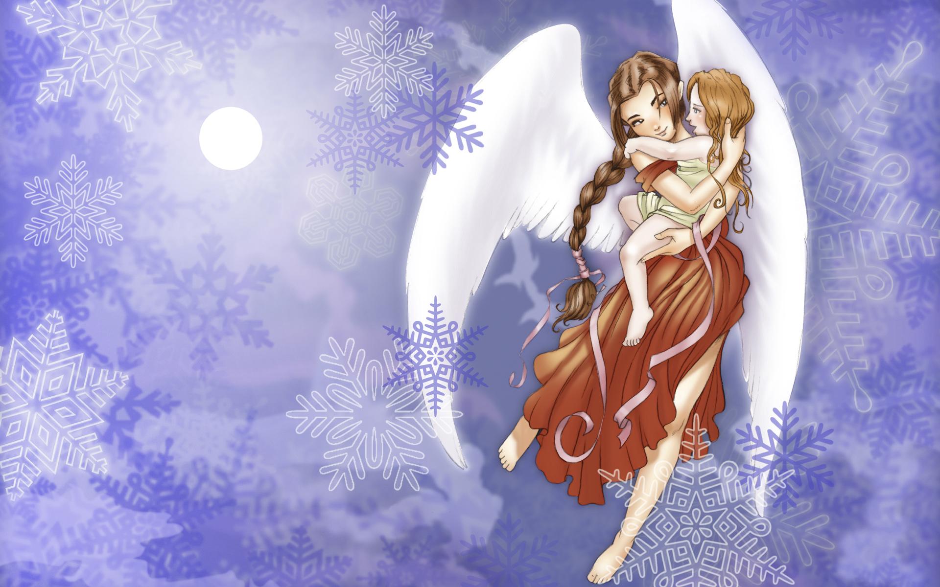 雪天使女孩宽屏壁纸 下载_雪天使女孩宽屏壁纸_飞翔