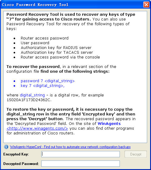 Password Recovery Tool for Cisco RoutersV1.0英文绿色版