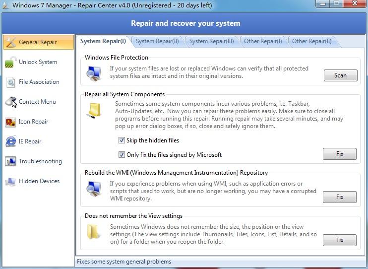 win7系统修复工具(Repair Center)V4.0 绿色版