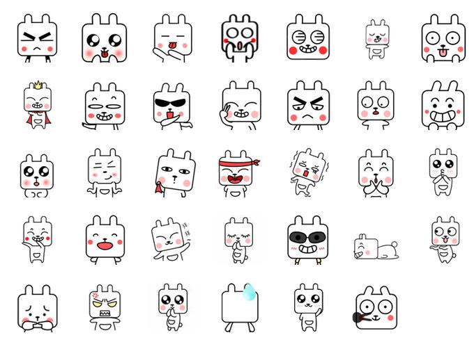方表情兔子搞怪QQ表情大图预览_方脑壳兔脑壳包气v表情可爱的图片