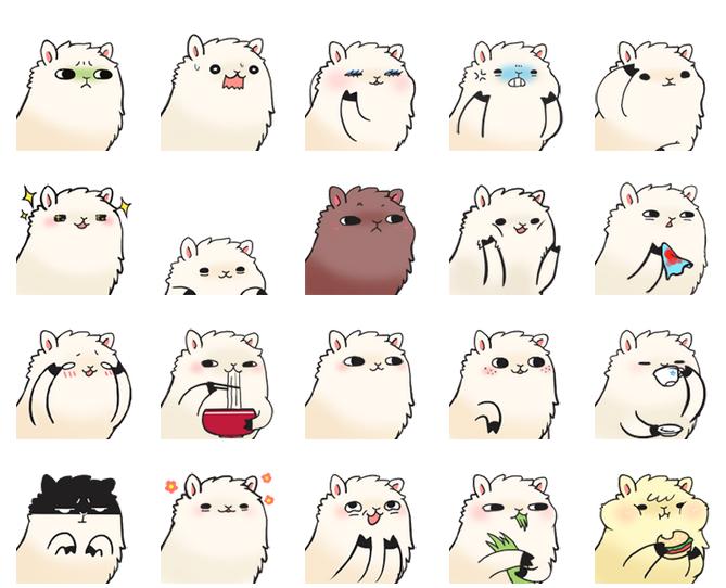 可爱 羊驼/羊驼驼可爱QQ表情 图片预览