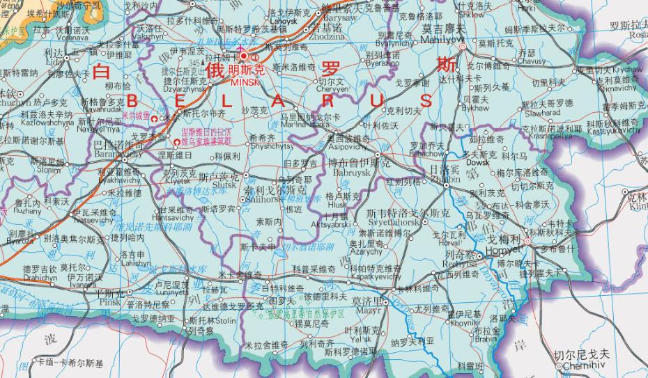 白俄罗斯地图中文版_白俄罗斯地图高清版全图下载