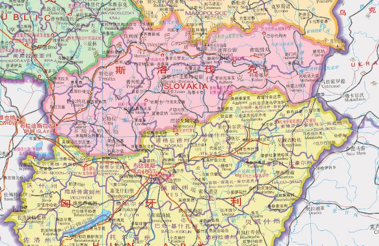捷克斯洛伐克地图_斯洛伐克地图高清中文版下载