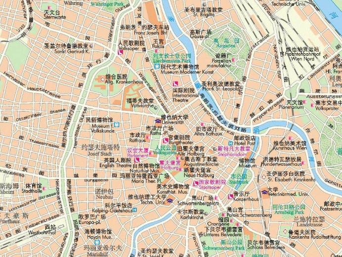 奥地利维也纳地图_维也纳地图高清中文版下载
