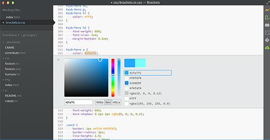 开源网页编辑器(Adobe Brackets)