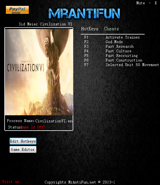 文明6资源修改器+5V1.0.0.26 MrAntiFun版