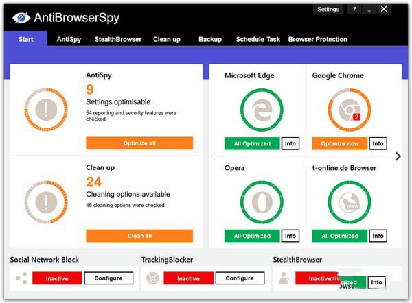AntiBrowserSpy(系统反间谍软件)V2019.258 官方版