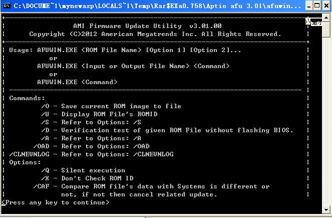 AMI Aptio AFU(BIOS刷新工具包)V3.01 绿色版