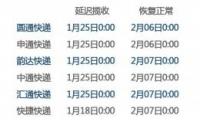 快递春节放假时间表