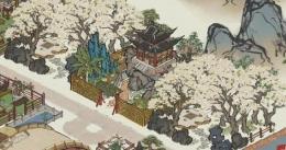 《江南百景图》人工湖和白色花树林布局攻略