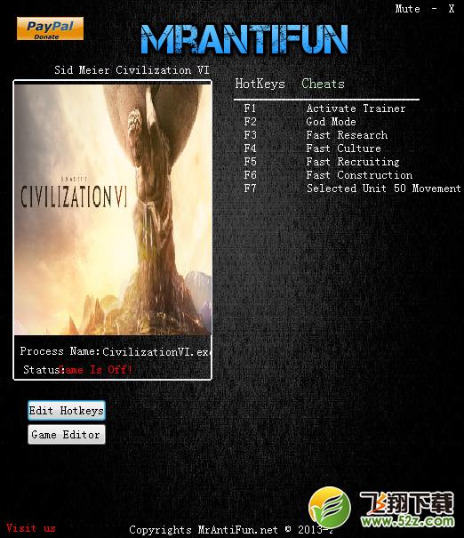 文明6资源修改器+5V1.0.0.26 MrAntiFun版_52z.com