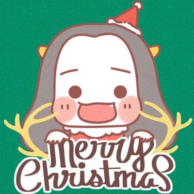 2018最新微信圣誕情侶卡通頭像一男一女 戴小紅帽的卡通情侶頭像可愛圖片