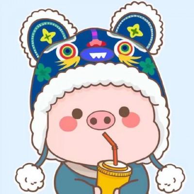 2019猪年卡通情侣头像两张一左一右 2019猪猪一对两张情侣头像图片