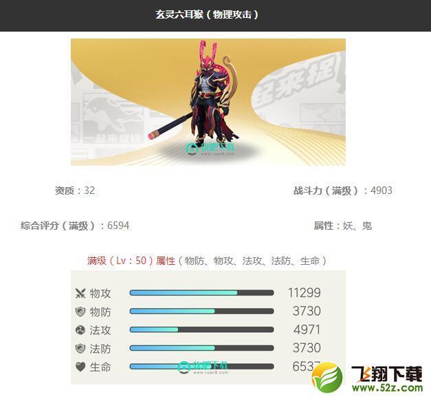 《一起来捉妖》玄灵六耳猴妖灵图鉴_52z.com