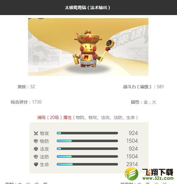 《一起来捉妖》太极鸳鸯锅妖灵图鉴_52z.com