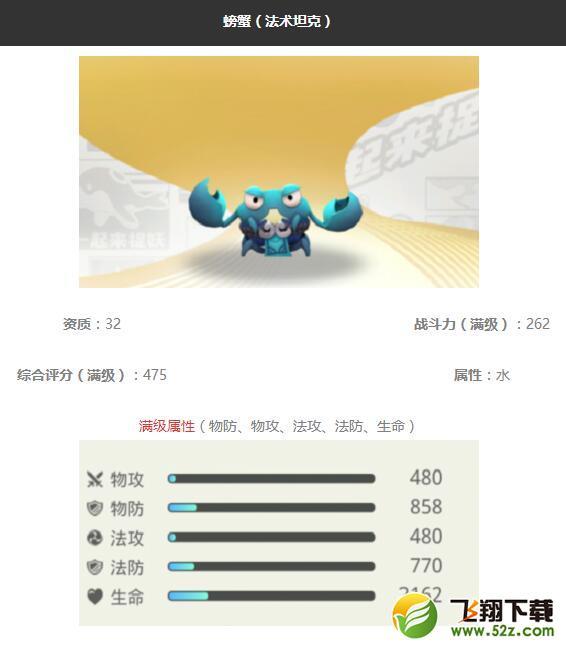 《一起来捉妖》螃蟹妖灵图鉴_52z.com