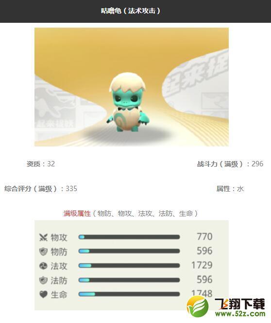 《一起来捉妖》咕噜龟妖灵图鉴_52z.com