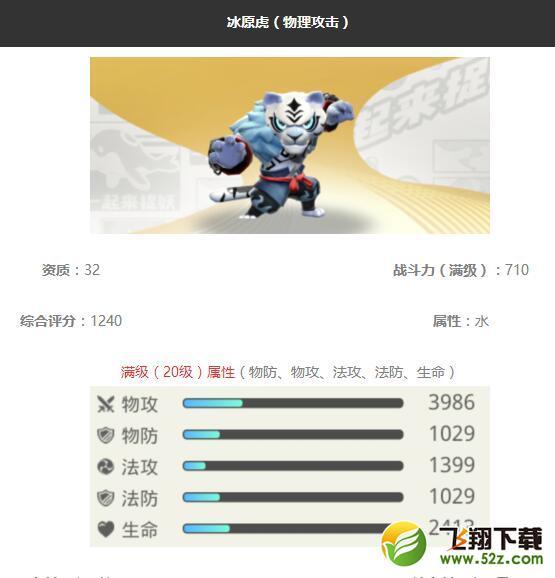 《一起来捉妖》冰原虎妖灵图鉴_52z.com