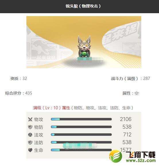 《一起来捉妖》锐头狼妖灵图鉴_52z.com