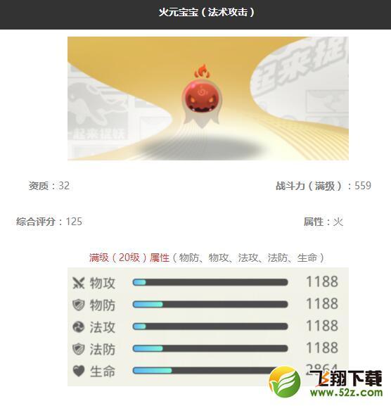 《一起来捉妖》火元宝宝妖灵图鉴_52z.com
