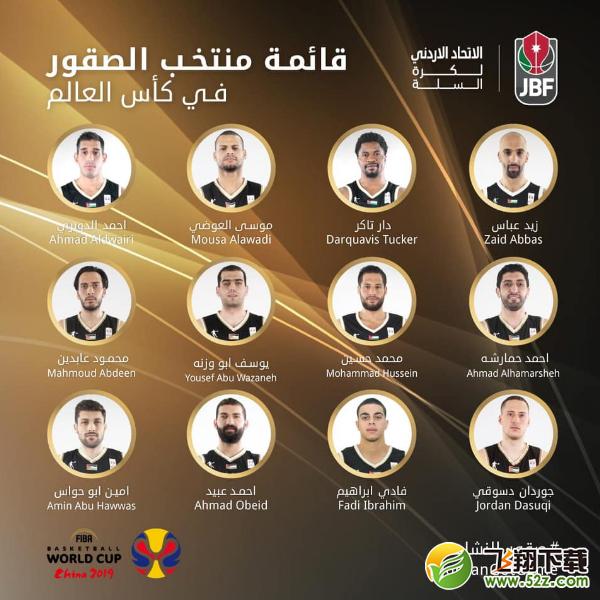 2019约旦男篮世界杯队伍阵容名单一览_52z.com