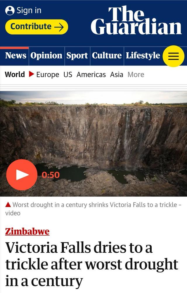 维多利亚瀑布几近干涸是怎么回事 维多利亚瀑布几近干涸是真的吗_52z.com