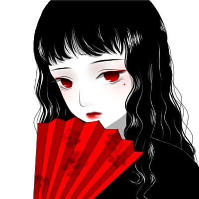 红眼黑发女生头像动漫二次元 二次元长发女生动漫头像图片