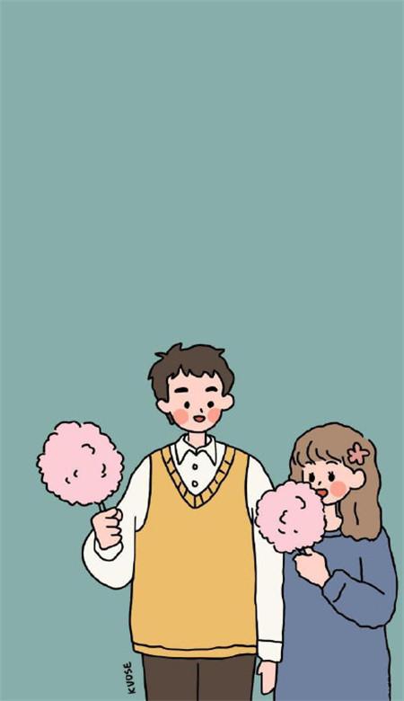 情侣手机壁纸卡通可爱大全 超甜的幸福情侣壁纸图片