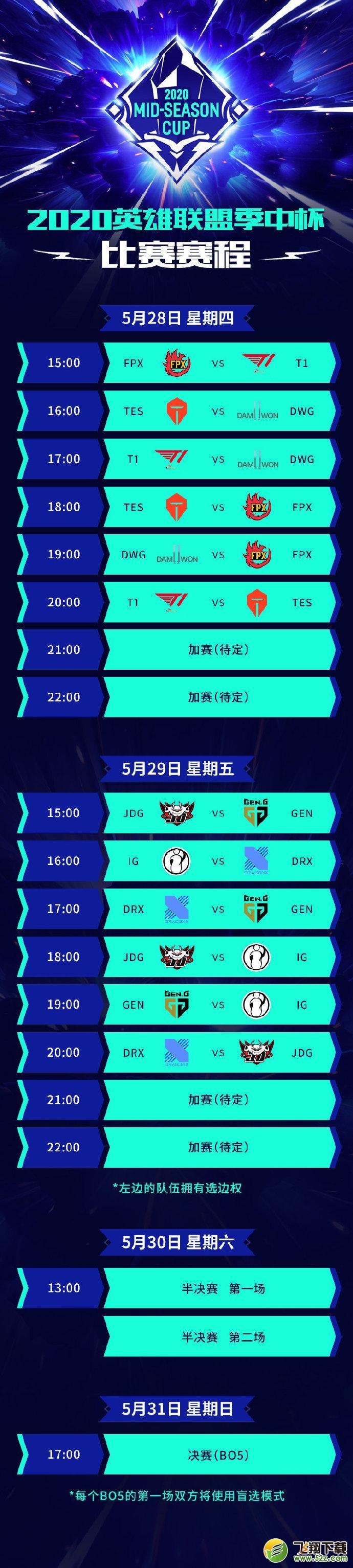 2020LPL英雄联盟季中杯赛程表_52z.com